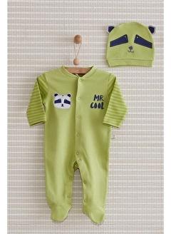 Nenny Baby Nenny Baby Nb303 Rakun Desenli Erkek Bebek Racoon Şapkalı Patikli Tulum Set